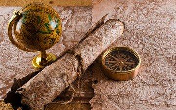 карты, стол, путешествия, глобус, компас