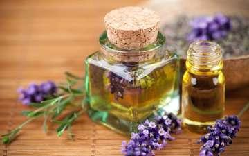 цветы, лаванда, спа, бутылочки, ароматерапия, эфирные масла