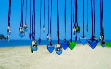 decoration, sea, sand, beach, heart, the ocean, suspension, pendants