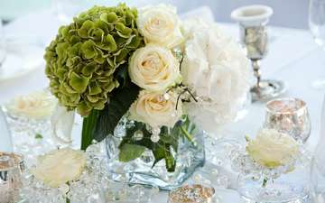 flowers, decoration, bouquet, diamonds, pearl, jewelry