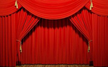 шторы, цвет, красные, красный, ткань, театр, сцена, занавес, бархатные, портьеры, драпировка