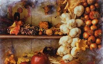 орехи, яблоки, осень, лук, кукуруза, урожай, овощи, натюрморт, чеснок