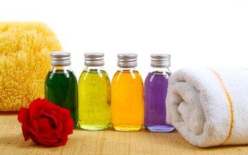 цветок, масло, полотенце, спа, соль, мочалка, бутылочки