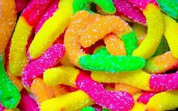 конфеты, сладости, разноцветный, сахар, мармелад, сладкие червячки
