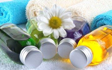 цветок, лепестки, полотенце, спа, бутылочки