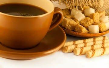 напиток, кофе, чашка, сладкое, сахар, вафельные трубочки