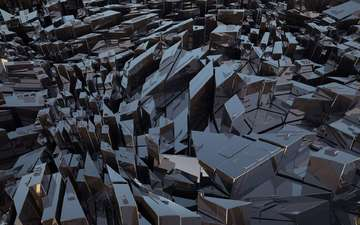 абстракция, графика, глыбы, сталь, 3д