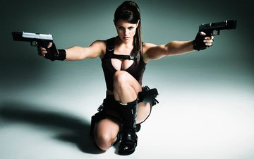 lara croft, girls guns