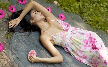 цветы, девушка, брюнетка, лежит, камень, силуэт, герберы, сарафан