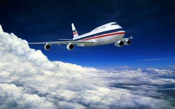 небо, облака, самолет, лайнер