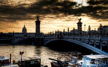 река, мост, город, лодки, башни