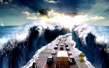 дорога, небеса, океан, шоссе, чудо