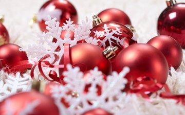 новый год, шары, украшения, снежинки, красные, ленточки, игрушки, праздник, рождество, новогодние игрушки