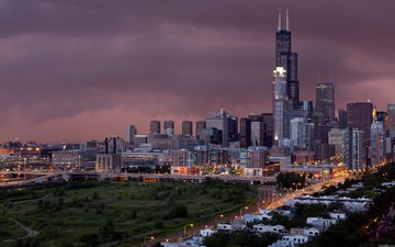 the sky, light, clouds, the city, home, road, building, storm, chicago-vecher -gorod, chicago