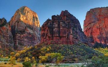 небо, деревья, горы, скалы, природа, кусты, осень, сша