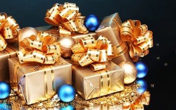 новый год, шары, отражение, новогодние, подарки, блеск, игрушки, звездочки, подарок, праздник, бантик, с новым годом, звезда. звезды