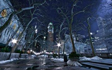 огни, снег, зима, города, сша, скамейка, постройки, высотки, деревь, new york city, nyc, gorod nyu-jork noch ogni zima, ноч, автодорога, соединенные штаты америки, vvv, нью - йорк