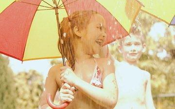 дети, радость, дождь