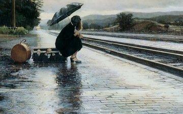 девушка, дождь, зонт, ожидание