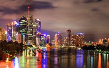 ночь, огни, вид, город, небоскребы, здания, небобоскребы