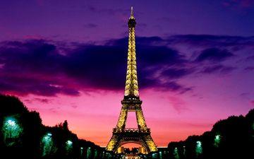 вечер, закат, париж, эйфелева башня