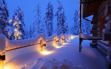 деревья, снег, природа, лес, хвоя, зима, пейзаж, дом, ель, домик, альпы