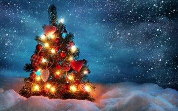 снег, новый год, елка, шары, украшения, зима, ель, игрушки, сердечки, встреча нового года, снегопад