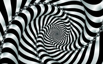 полосы, абстракция, чёрно-белое, графика, завитки, спираль, 3д, иллюзия