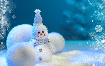 снег, новый год, зима, снеговик