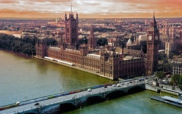 река, мост, лондон, темза, вид сверху, биг бен, big-ben