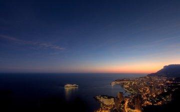 вечер, море, лайнер, монако