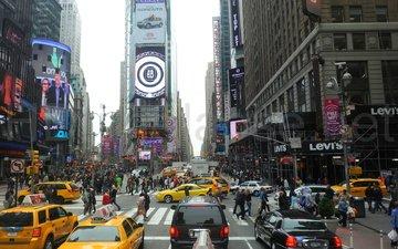 люди, улица, сша, такси, нью - йорк