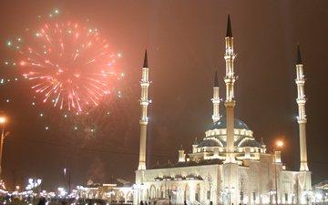 салют, мечеть, грозный, чечня, ислам