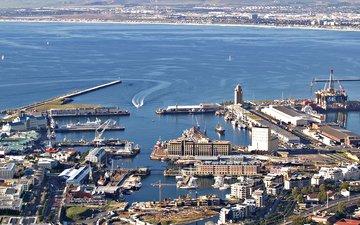 море, вид, лодки, порт, бухта