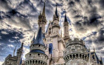 небо, облака, замок, башни