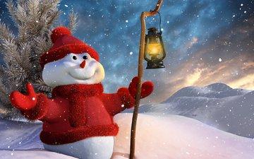 снег, новый год, зима, улыбка, снеговик, фонарь, рождество, палка, фонарик