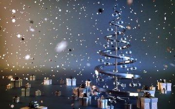 огни, новый год, елка, шары, украшения, звезды, подарки, креатив, ель, рождество, сталь, коробки