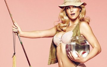 blonde, model, aquarium, fish, curls, hat, rod, bar refaeli, fisherwoman