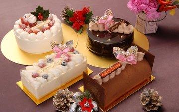цветы, новый год, еда, сладости, шишки, сладкое, выпечка, торт, десерт, пироженное, вкусно, торты, угощение, рулеты, десерд