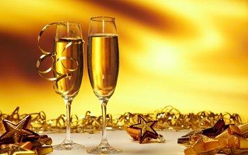 новый год, звезды, игрушки, лента, бокалы, праздник, рождество, шампанское, блестки