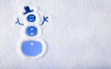 рисунок, снег, новый год, зима, радость, снеговик