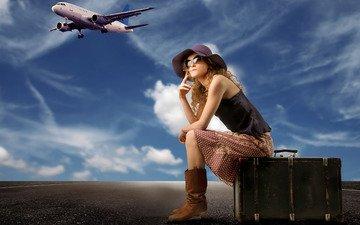 девушка, самолет, чемодан, ожидание
