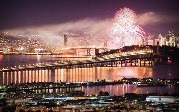 ночь, город, праздничное убранство, встреча нового года