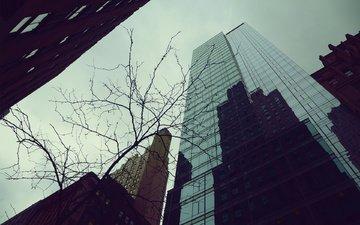 небо, отражение, город, осень, небоскребы, здания