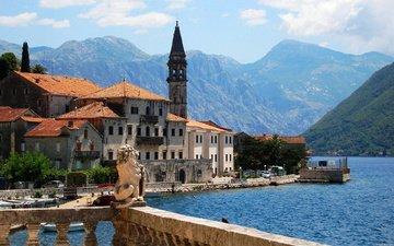 горы, море, дома, греция