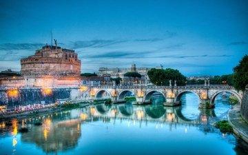 мост, италия, рим, замок святого ангела, кастель сант-анджело