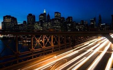 дорога, мост, движение, ночной город