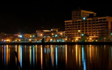 огни, города, ночного