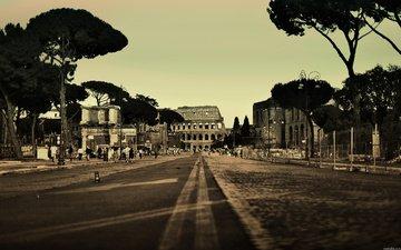 дорога, италия, колизей, рим