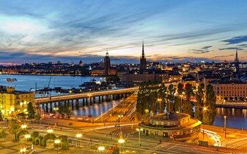 река, ночной город, мосты, стокгольм, швеции